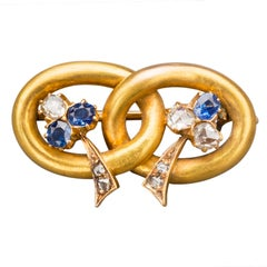 1910 Vladimir Soloviev Russian Sapphire Diamond Gold Pin