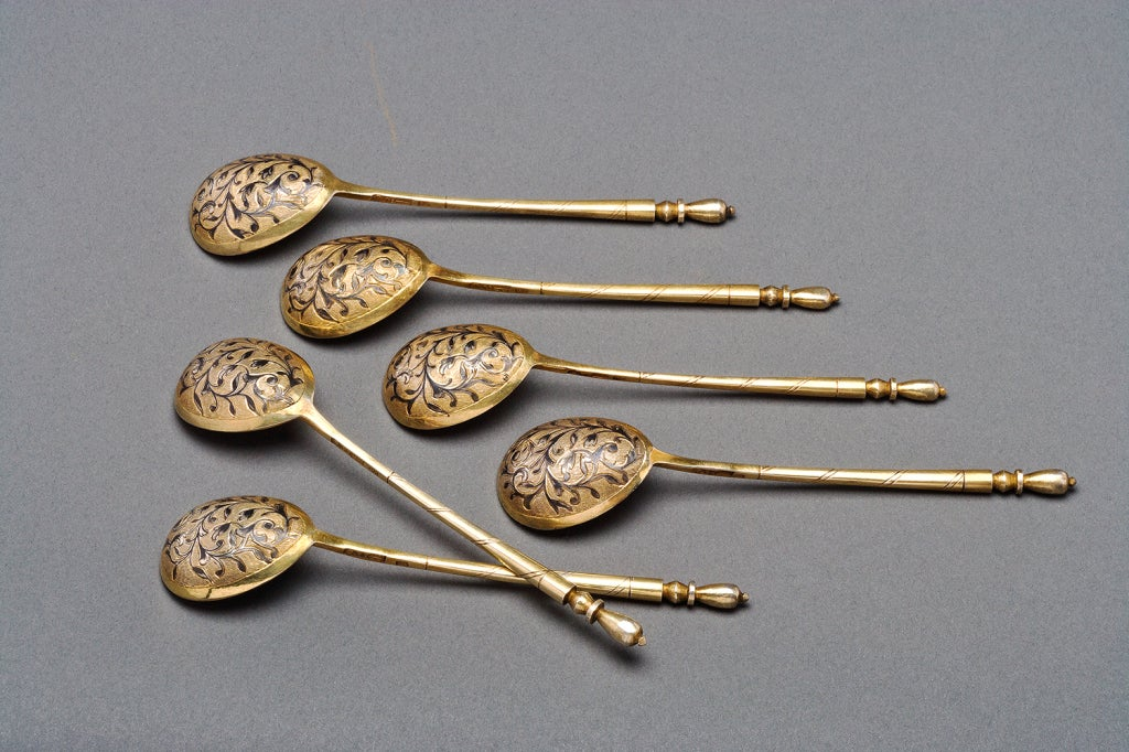 Victorian Set of Six Russian Silver Teaspoons by Dmitriev, 1851 For Sale