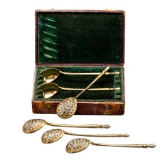 Set of Six Russian Silver Teaspoons by Dmitriev 1851