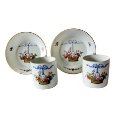 Pair of Russian GARDNER Porcelain Cups & Saucers, circa 1770
