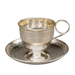 Russian Silver Cup and Saucer by Pavel Dmitriev