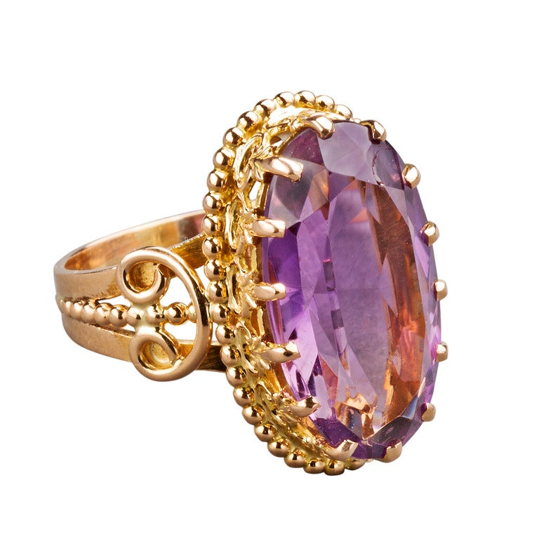 19th Century French Amethyst Gold Ring For Sale At 1stdibs