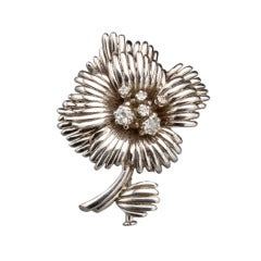 1950s French Diamond Gold Flower Pin, Paris