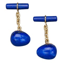 Lapis Lazuli Gold Egg Cufflinks by Marie Betteley