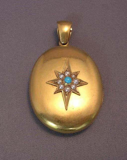 English Turquoise Pearl Gold Locket circa 1870 2