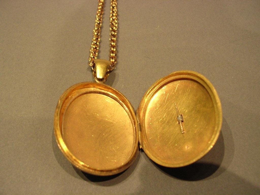 English Turquoise Pearl Gold Locket circa 1870 3