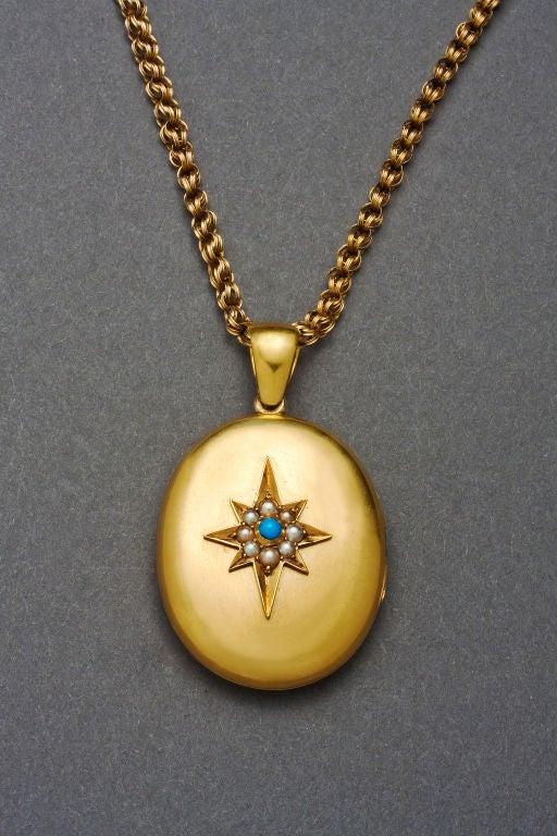English Turquoise Pearl Gold Locket circa 1870 4