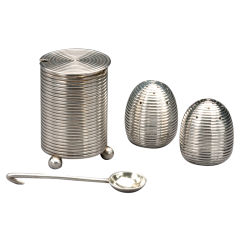 Russian Silver Khlebnikov Salt Shakers and Mustard, Dated 1888