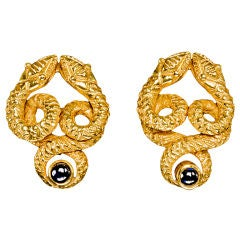 Gold & Sapphire Serpent Earrings