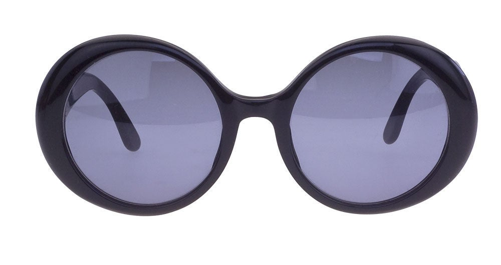 Chanel Black Sunglasses  chanel black round sunglasses with cc for at 1stdibs