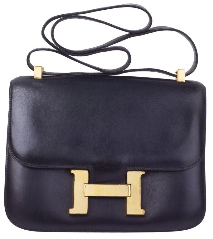 VINTAGE HERMES BLACK CONSTANCE BAG 23CM at 1stdibs