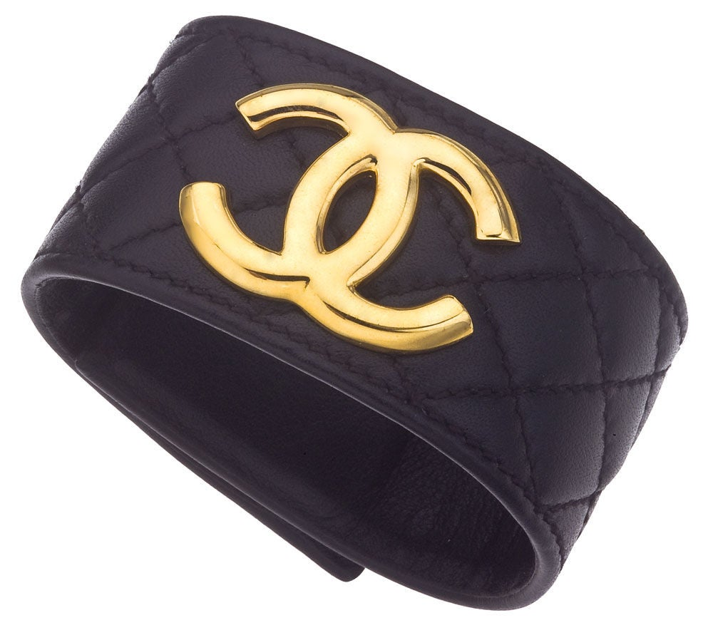 CHANEL QUILTED LEATHER BANGLE BRACELET image 2