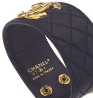 CHANEL QUILTED LEATHER BANGLE BRACELET thumbnail 3