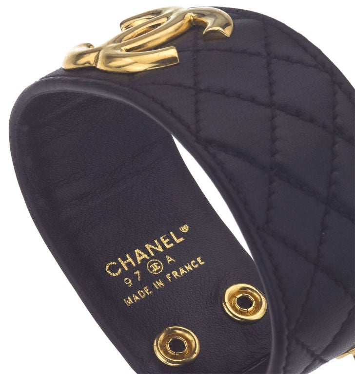 CHANEL QUILTED LEATHER BANGLE BRACELET image 3