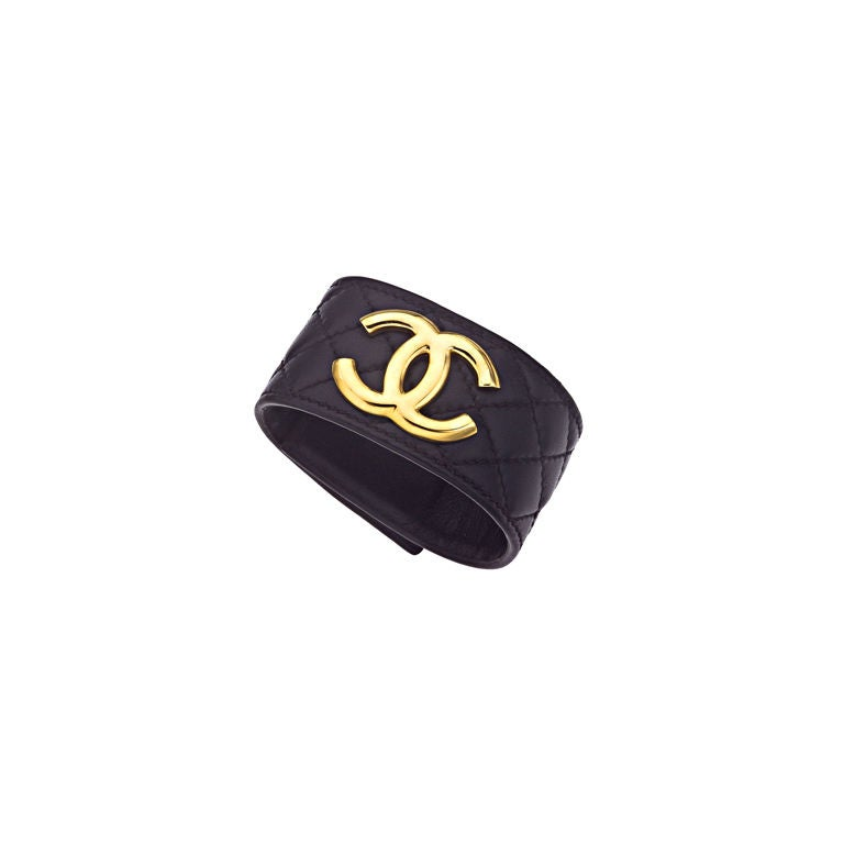 CHANEL QUILTED LEATHER BANGLE BRACELET