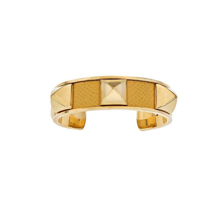 HERMES YELLOW/GOLD  MEDOR BANGLE BRACELET 1