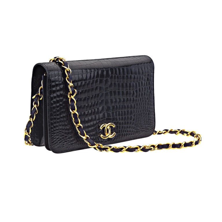 chanel vintage croc handbag uh