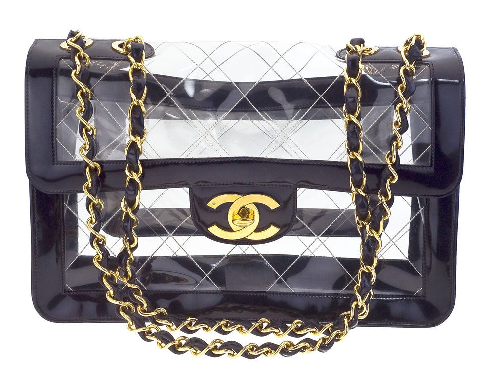 Chanel black patent/PVC jumbo bag image 2