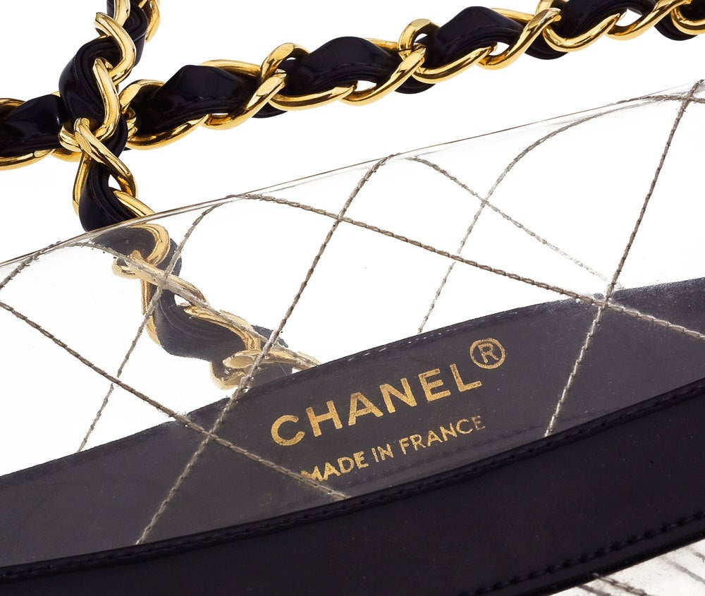 Chanel black patent/PVC jumbo bag image 3