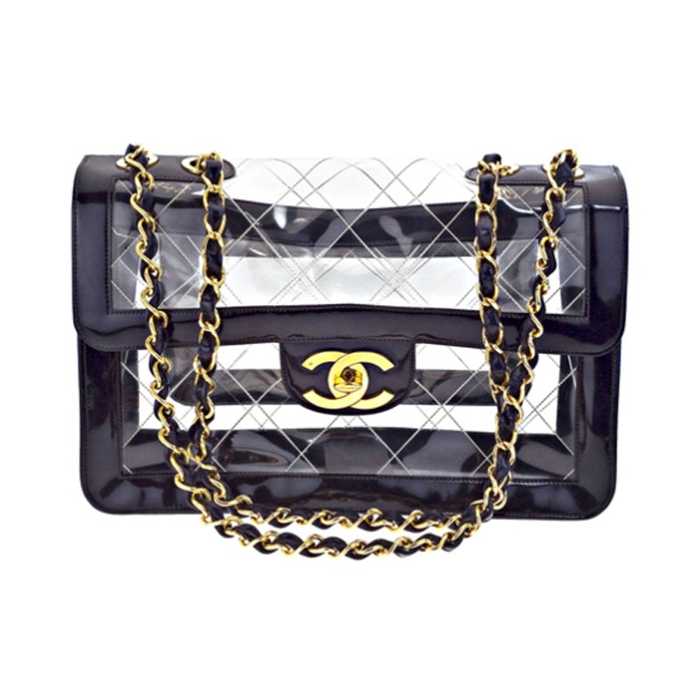 Chanel black patent/PVC jumbo bag