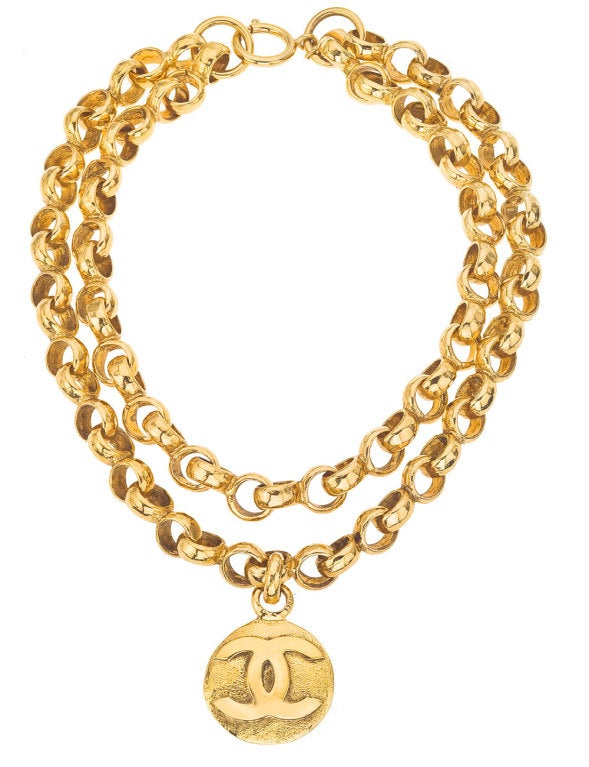 CHANEL DOUBLE CHAIN CC NECKLACE 2
