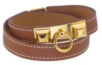 HERMES MEDOR BANGLE BROWN/GOLD thumbnail 2