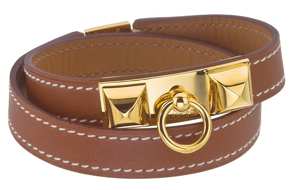 HERMES MEDOR BANGLE BROWN/GOLD image 2