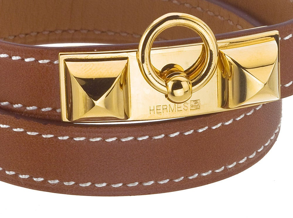 HERMES MEDOR BANGLE BROWN/GOLD image 3