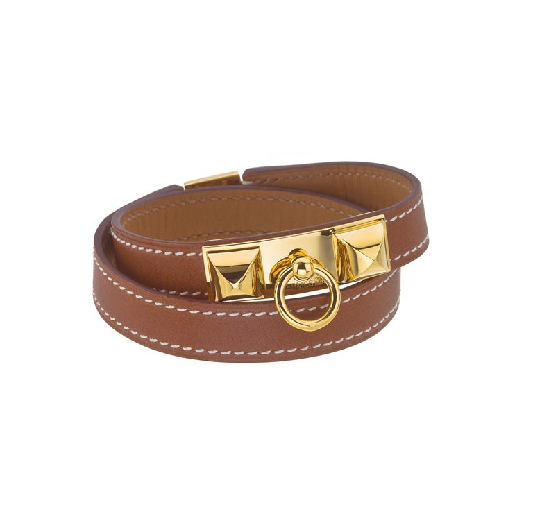 HERMES MEDOR BANGLE BROWN/GOLD