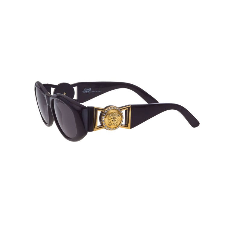 b9a83c0341 Vintage Versace Sunglasses MOD 424 with Rhinestones at 1stdibs