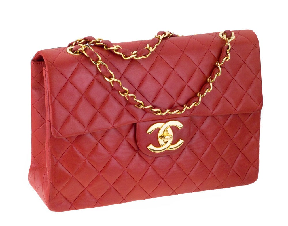CHANEL RED 2.55 JUMBO QUILTED BAG 2