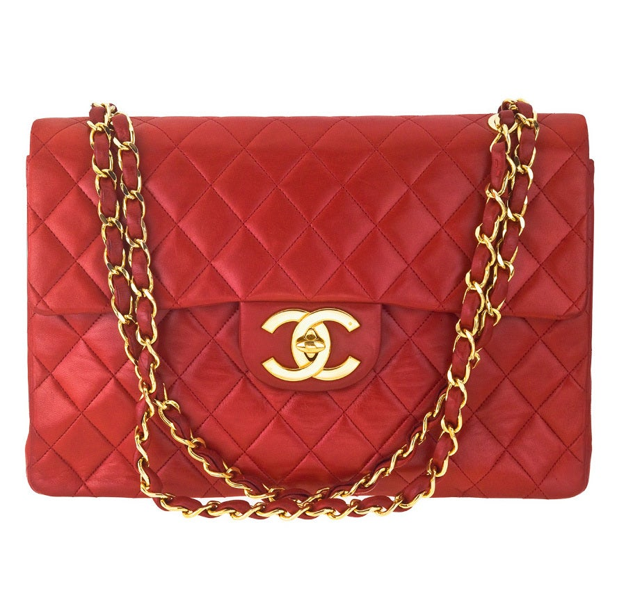CHANEL RED 2.55 JUMBO QUILTED BAG