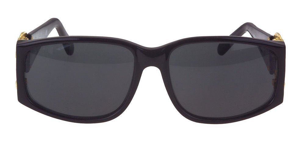 Chanel black/gold sunglasses with large CC logos.