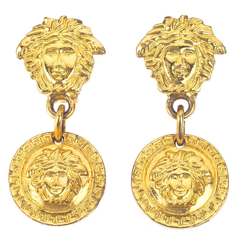 Gianni Versace Medusa Earrings Gold For Sale