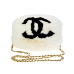 Chanel Hand Muff White & Black Logo