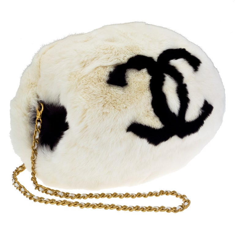 Vintage Chanel White Hand Muff With Black Logo.