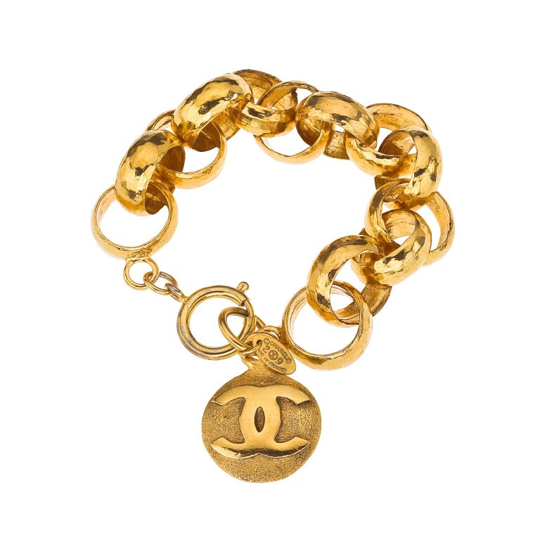CHANEL GOLD CHAIN BRACELET WITH CC CHARM 2