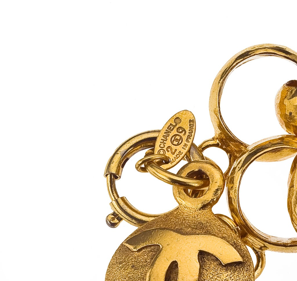 CHANEL GOLD CHAIN BRACELET WITH CC CHARM 3
