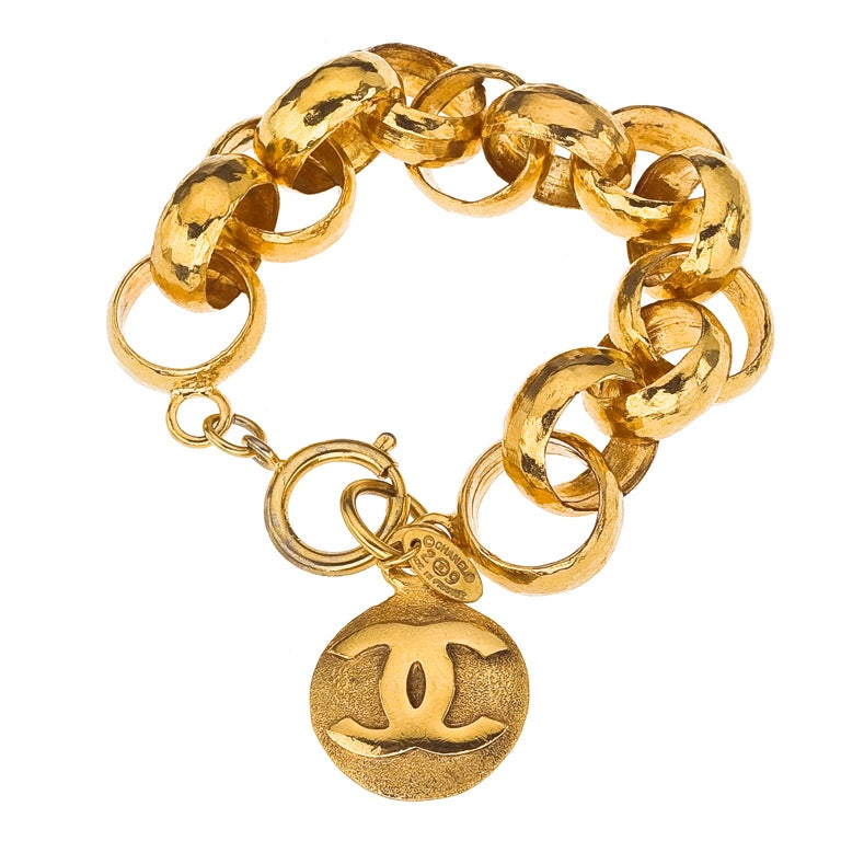 chanel gold chain bracelet with cc charm at 1stdibs