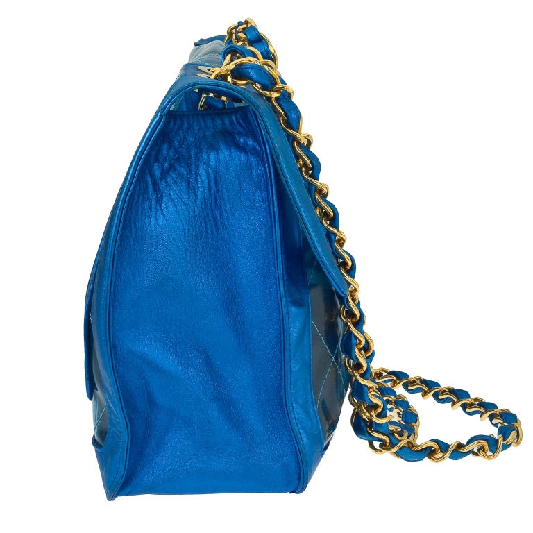 VINTAGE CHANEL BLUE METALLICPVC JUMBO BAG image 4