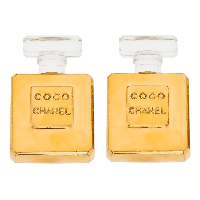 "Vintage Chanel ""Coco Chanel"" Perfume Bottle Earrings 1"