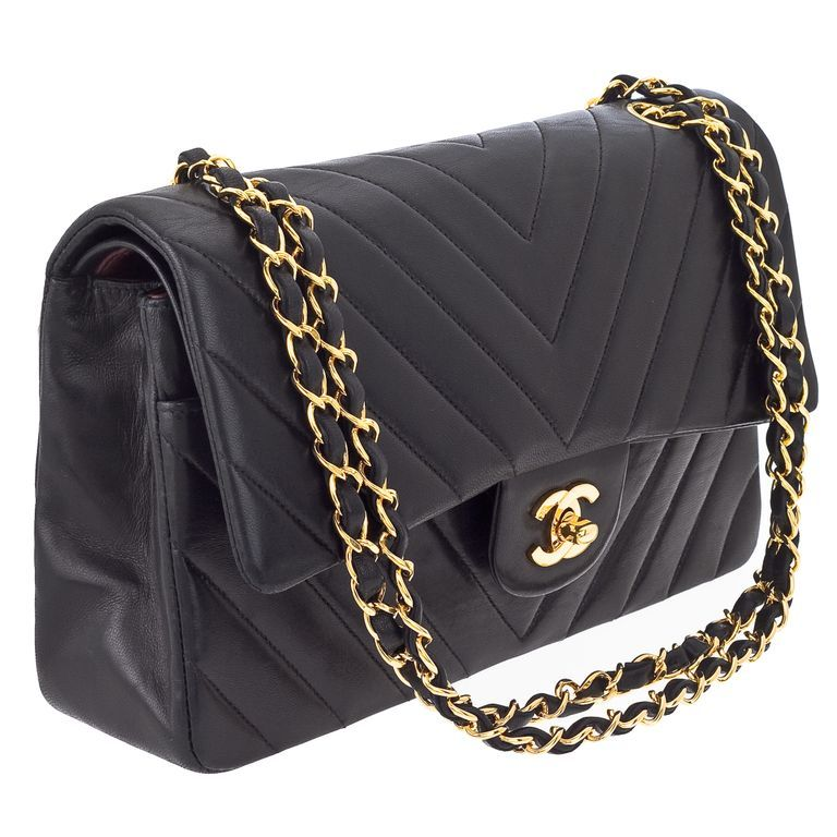 b8b46d327381 Chanel iconic chevron double flap bag. Chain drop 9 inches