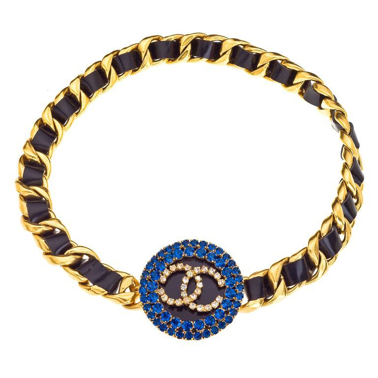 CHANEL MASSIVE BELT WITH BLUE STONES AND BLACK/GOLD CHAIN 1