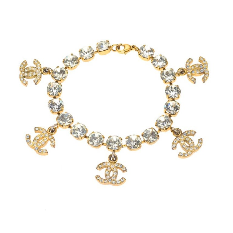 Chanel Rhinestone Bracelet with CC Charms For Sale