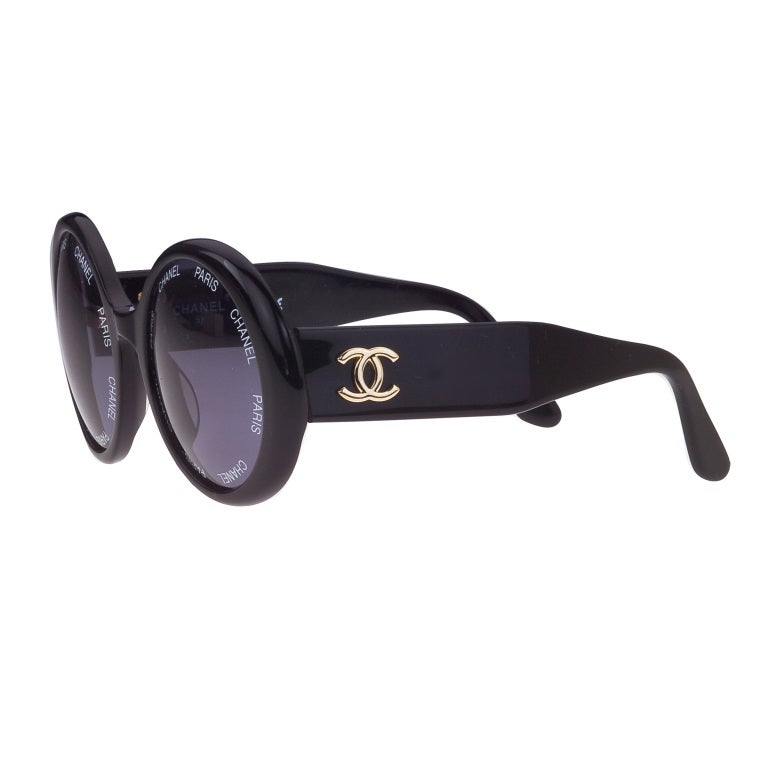 Vintage Chanel 'Chanel Paris' Logo Black Sunglasses Large 2
