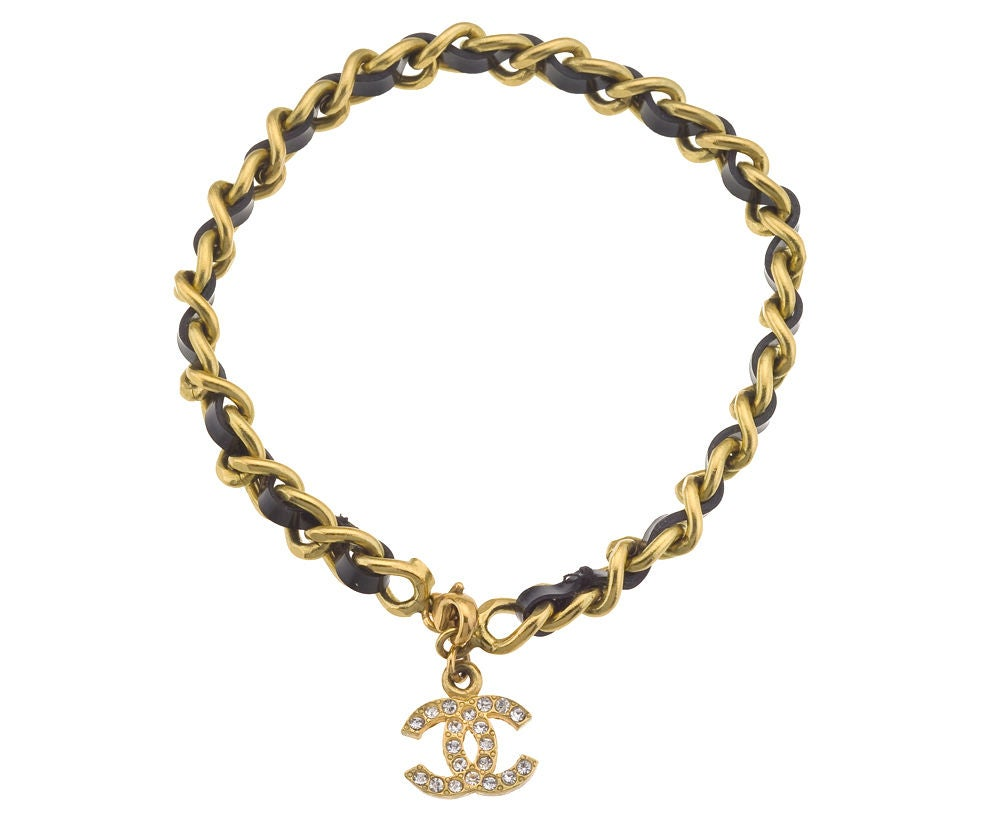 Chanel Iconic Black and Gold Chain Anklet / Bracelet In Good Condition In Chicago, IL