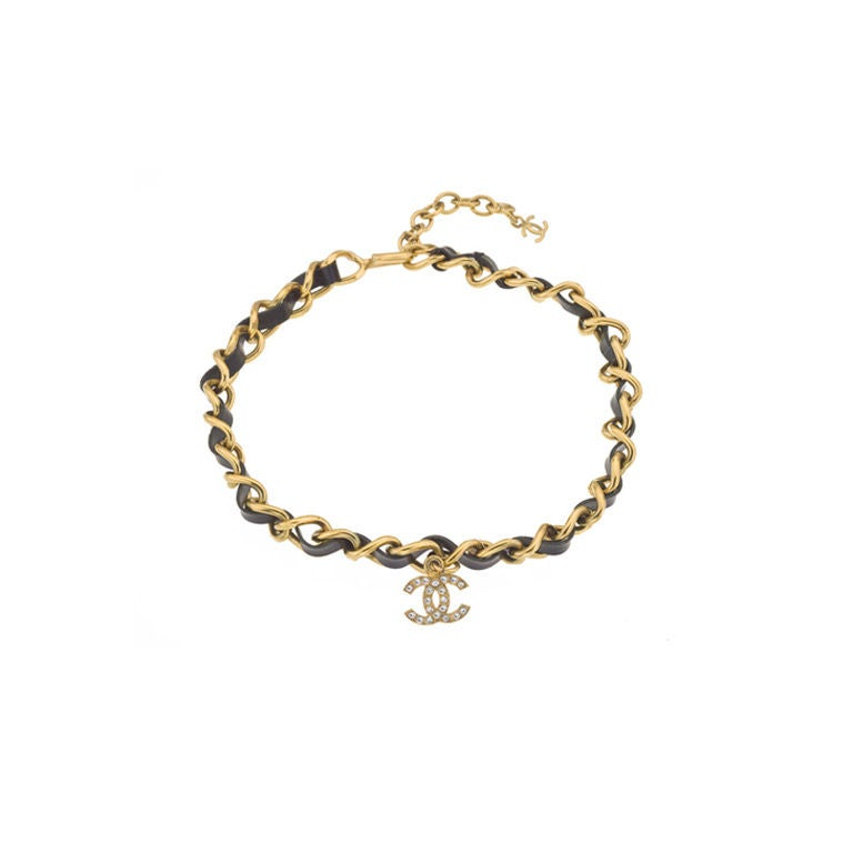 Chanel Black/Gold Choker with CC Charm For Sale