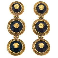 GIANNI VERSACE BLACK AND GOLD 3 MEDUSAS DANGLING EARRINGS