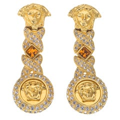 GIANNI VERSACE RARE MEDUSA AND ORANGE STONE EARRINGS