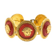 GIANNI VERSACE RED/GOLD MEDUSA BRACELET